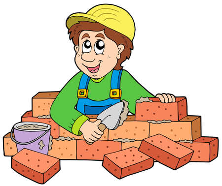 house work: Happy bricklayer on white background - vector illustration.
