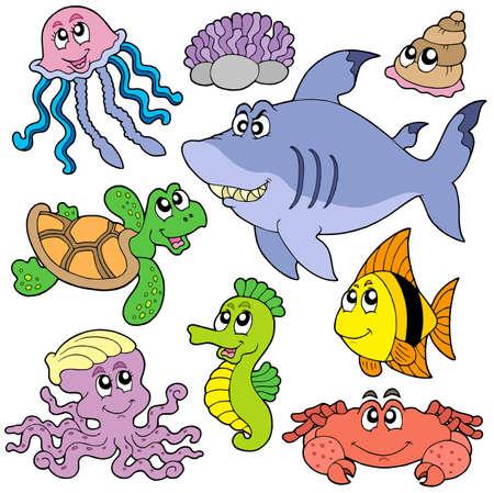 Mare pesci e animali insieme 2 - illustrazione vettoriale.