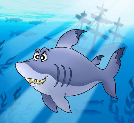 Big blue shark with shipwreck - color illustration. Stock Illustration - 6232261