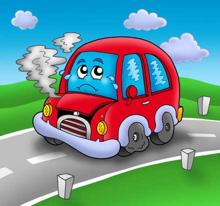 Broken cartoon car on road - color illustration. Imagens