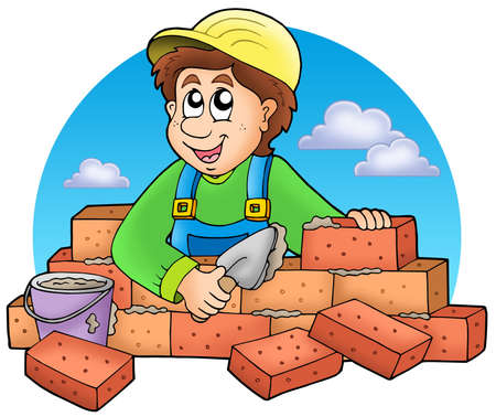 manual job: Cartoon bricklayer with clouds - color illustration. Stock Photo