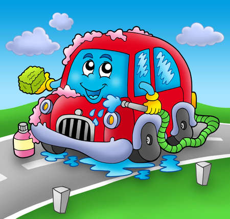 cartoon cleaner: Cartoon car wash on road - color illustration.