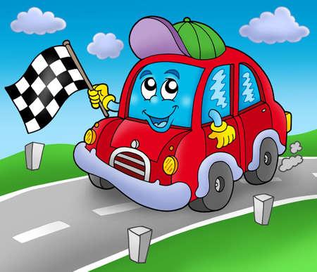 race cars: Car race starter on road - color illustration. Stock Photo