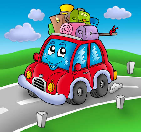 window case: Cute car with baggage on road - color illustration.