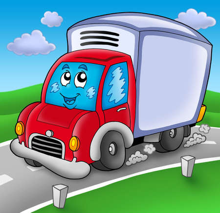 fast driving: Cute delivery car on road - color illustration.