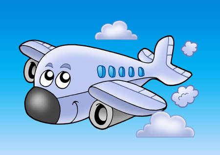 aero: Cute flying airplane - color illustration.