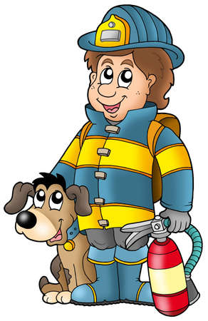 extinguisher: Firefighter with dog and extinguisher - color illustration. Stock Photo