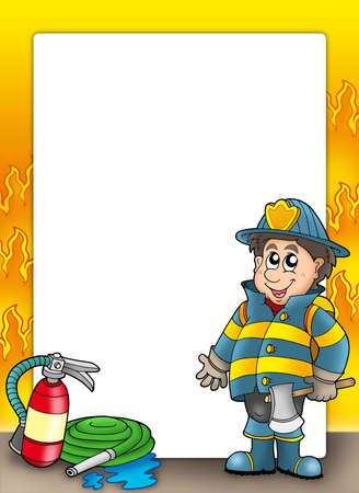 safety gear: Fire protection frame with fireman - color illustration. Stock Photo