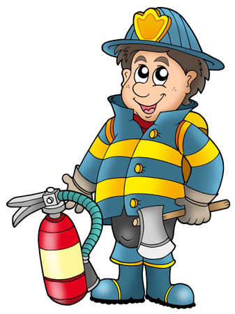 extinguisher: Fireman holding fire extinguisher - color illustration.