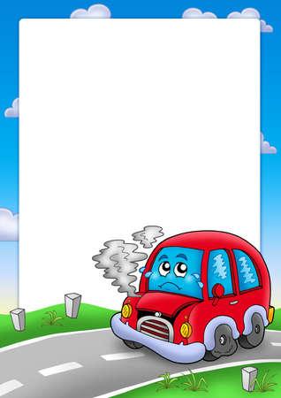 Frame with broken cartoon car - color illustration.