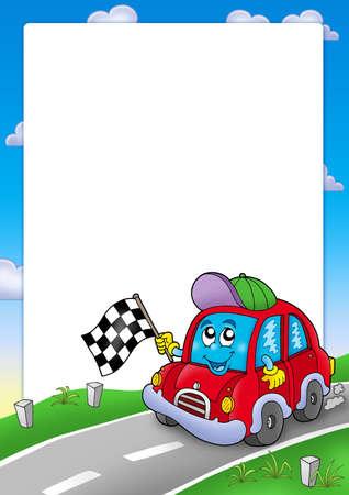 Frame with car race starter - color illustration. illustration