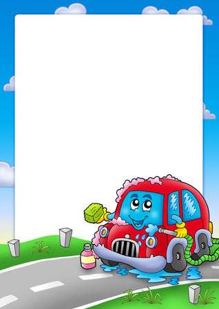 carwash: Marco con lavado de coches de dibujos animados - ilustración de color. Foto de archivo