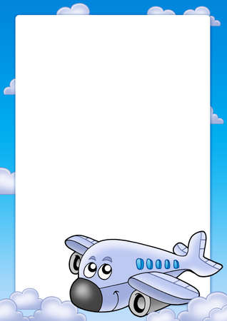 aero: Frame with cute airplane and clouds - color illustration. Stock Photo