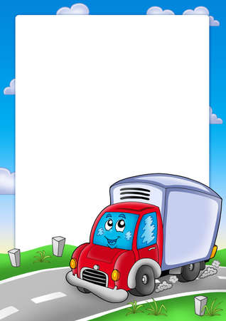 land vehicle: Frame with cute delivery car - color illustration.