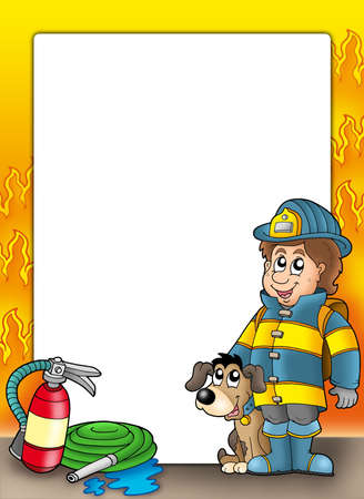 firefighter uniform: Frame with firefighter and dog - color illustration. Stock Photo