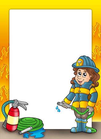 Frame with firefighter girl - color illustration. Stock Illustration - 6232299