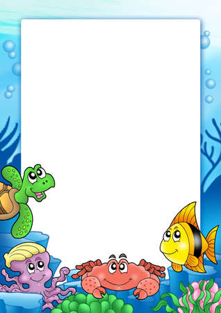 bubble sea anemone: Frame with various sea animals - color illustration.
