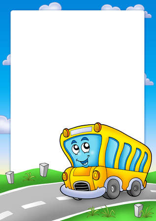 Frame with yellow school bus - color illustration. Stock Illustration - 6232296
