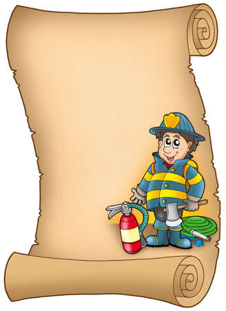 safety gear: Parchment with fireman - color illustration. Stock Photo