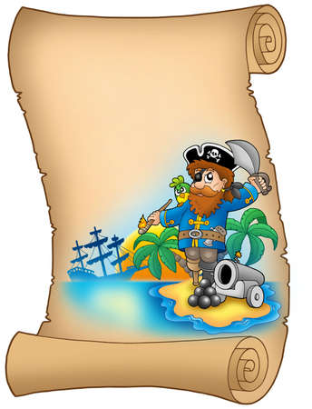 Parchment with pirate and cannon - color illustration. illustration