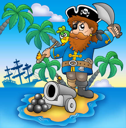 cannon: Pirate shooting from cannon - color illustration. Stock Photo
