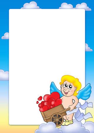 Valentine frame with Cupid 2 - color illustration. illustration