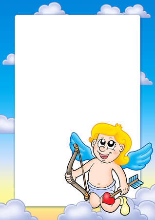 longbow: Valentine frame with Cupid 3 - color illustration. Stock Photo