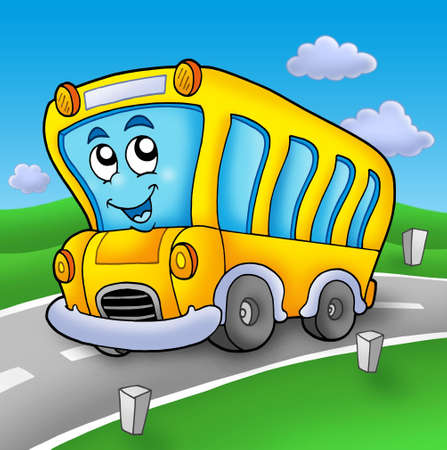 yellow schoolbus: Yellow school bus on road - color illustration. Stock Photo