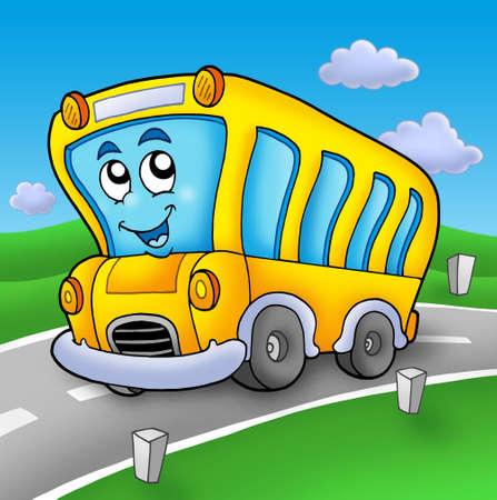 schoolbus: Yellow school bus on road - color illustration. Stock Photo