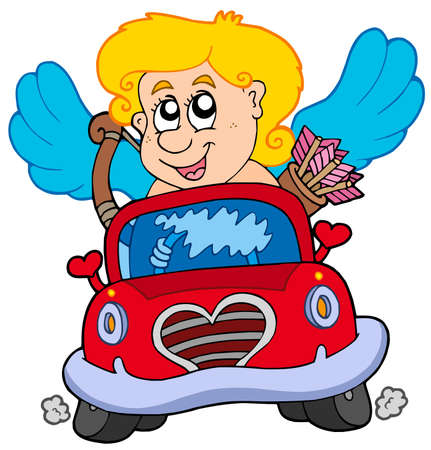 Cupid in red car - vector illustration. Vector