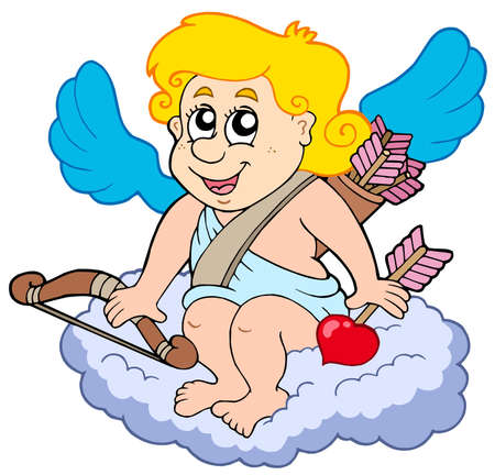 Cupid on cloud - vector illustration. Vector