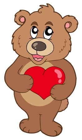 Cute oso celebración de corazón - ilustración vectorial.