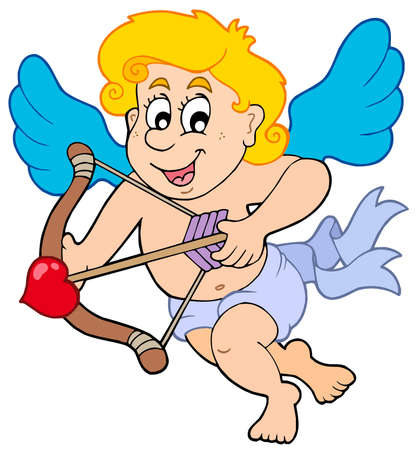 Happy Cupid with bow and arrow - vector illustration. Vector
