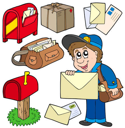 cartons: Mail collection on white background - vector illustration. Illustration