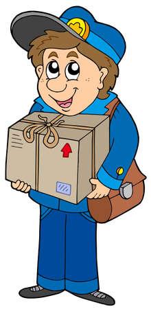 Mailman delivering box - vector illustration.