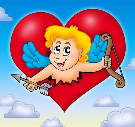Cupid lurking from heart on sky - color illustration. Stock Illustration - 6240680