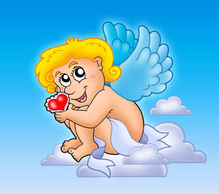 Cupid with heart on blue sky - color illustration. illustration