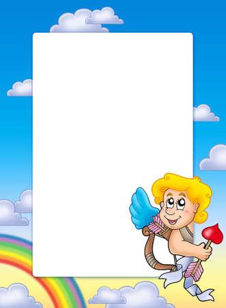Valentine frame with Cupid 4 - color illustration. illustration
