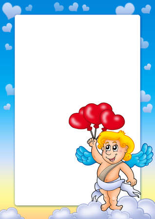 Valentine frame with Cupid 5 - color illustration. illustration