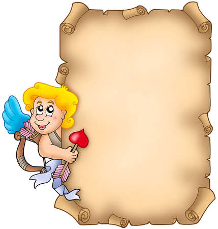 lurk: Valentine parchment with Cupid - color illustration.
