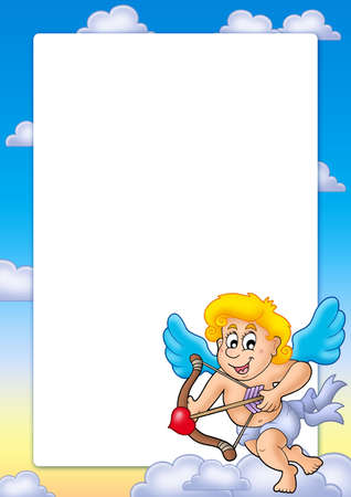 Valentine frame with happy Cupid 2 - color illustration. illustration