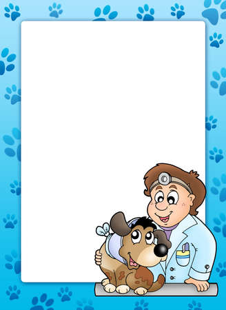 dog health: Blue frame with veterinary theme - color illustration. Stock Photo