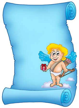 Blue scroll with Cupid holding gift - color illustration. illustration