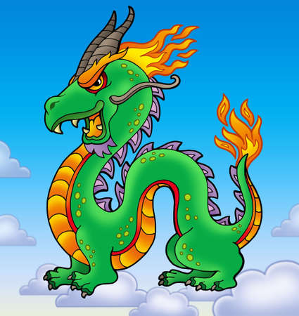 classical mythology character: Chinese dragon on blue sky - color illustration.