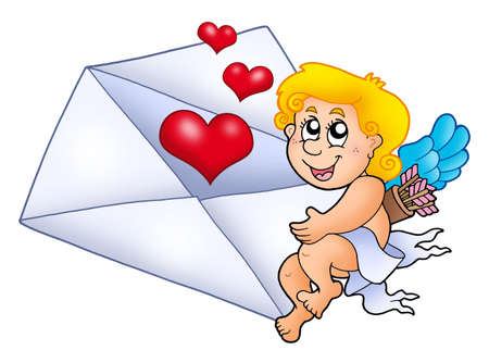 Cupid holding envelope 1 - color illustration. illustration