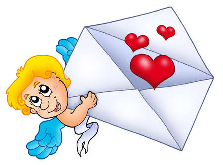 Cupid holding envelope 2 - color illustration. illustration