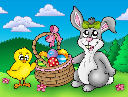 cartoon spring: Cute Easter bunny and chicken - color illustration. Stock Photo