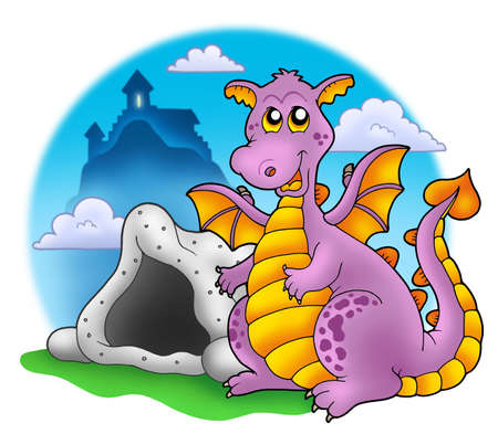 Dragon with cave and castle 1 - color illustration. illustration
