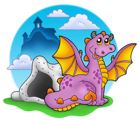 Dragon with cave and castle 2 - color illustration. illustration