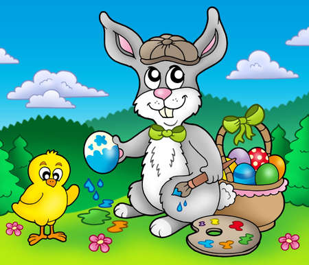 Easter bunny artist and chicken - color illustration. Stock Illustration - 6335474